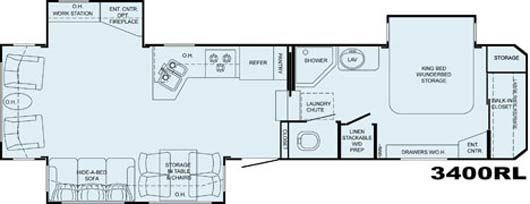 Heartland Bighorn floorplan 3400RL
