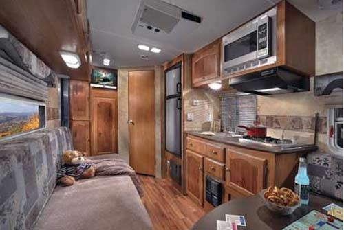 Coachmen M-Series small travel trailer interior looking towards rear