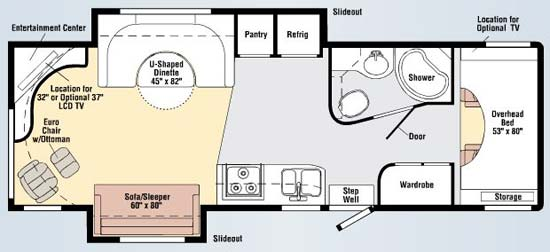 Winnebago Outlook interior floorplan 30D