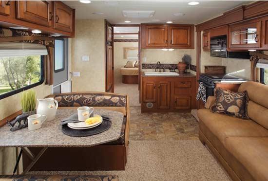 jayco greyhawk class c motorhome interior looking to bedroom