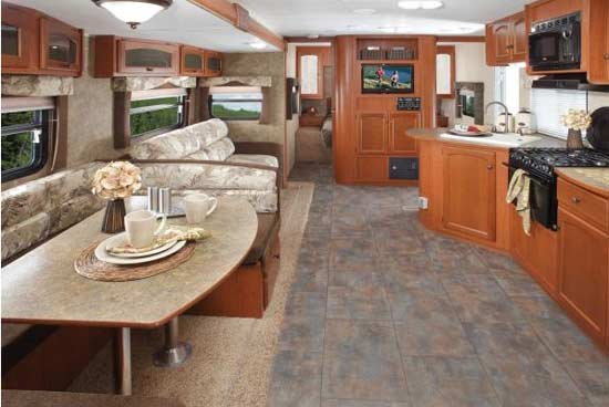 dutchmen travel trailer interior looking to bedroom
