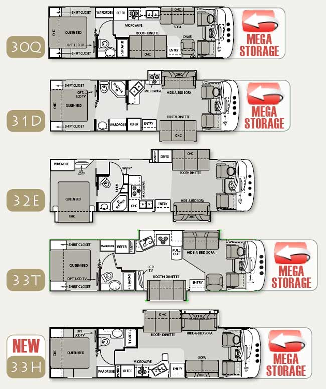 four winds hurricane class a motorhome floorplans large