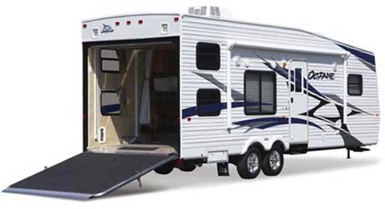 Jayco Octane ZX toy hauler travel trailer exterior - open showing ramp
