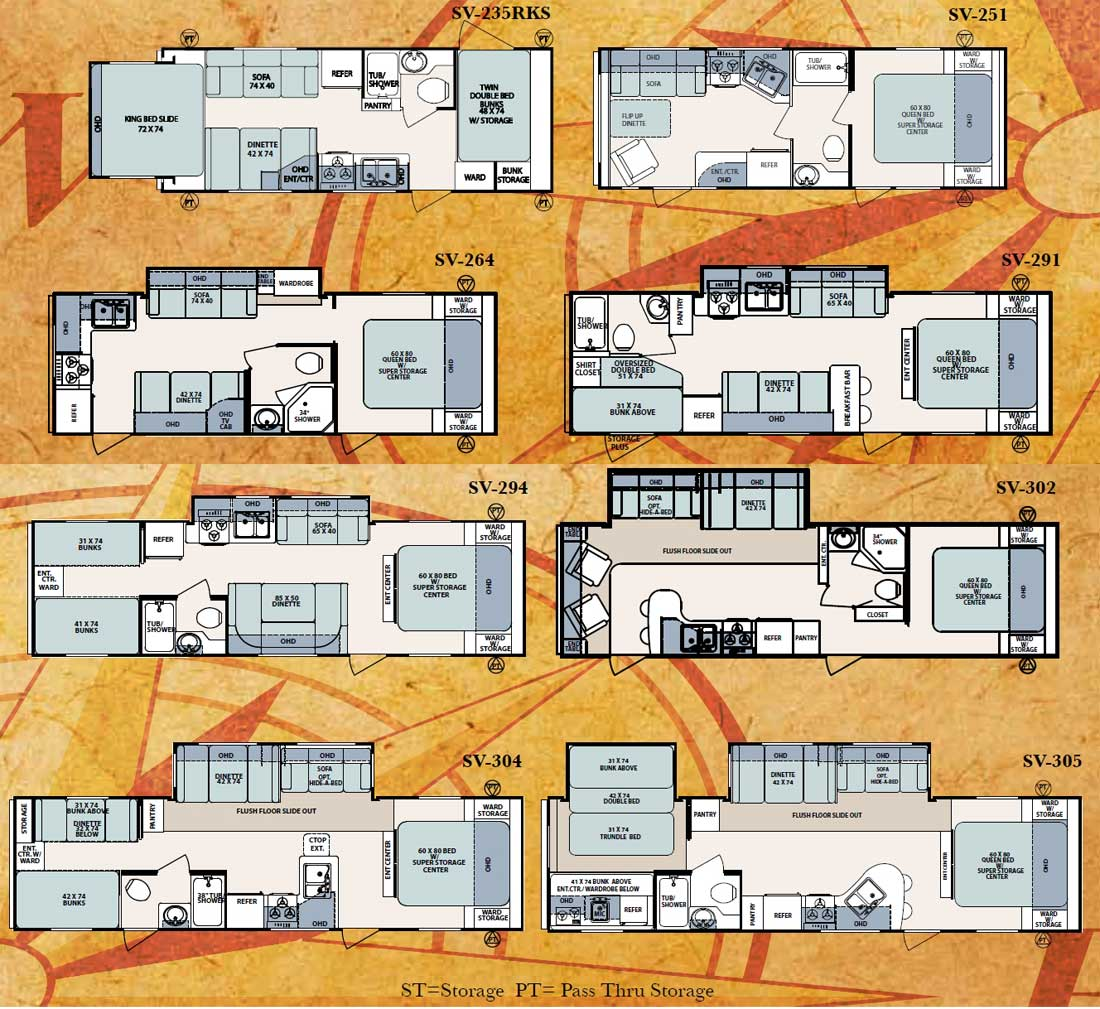 Forest River Surveyor Travel Trailer Floorplans - Forest river 5th wheel floor plans