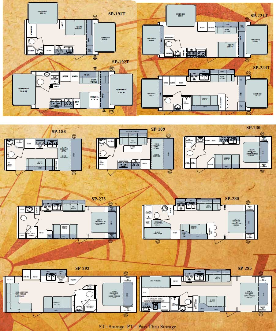 forest river surveyor sport travel trailer floorplans