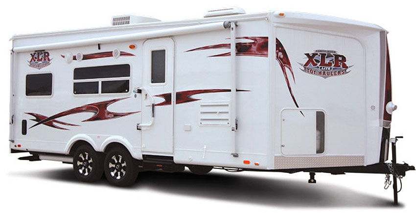Forest River XLR toy hauler travel trailerl exterior