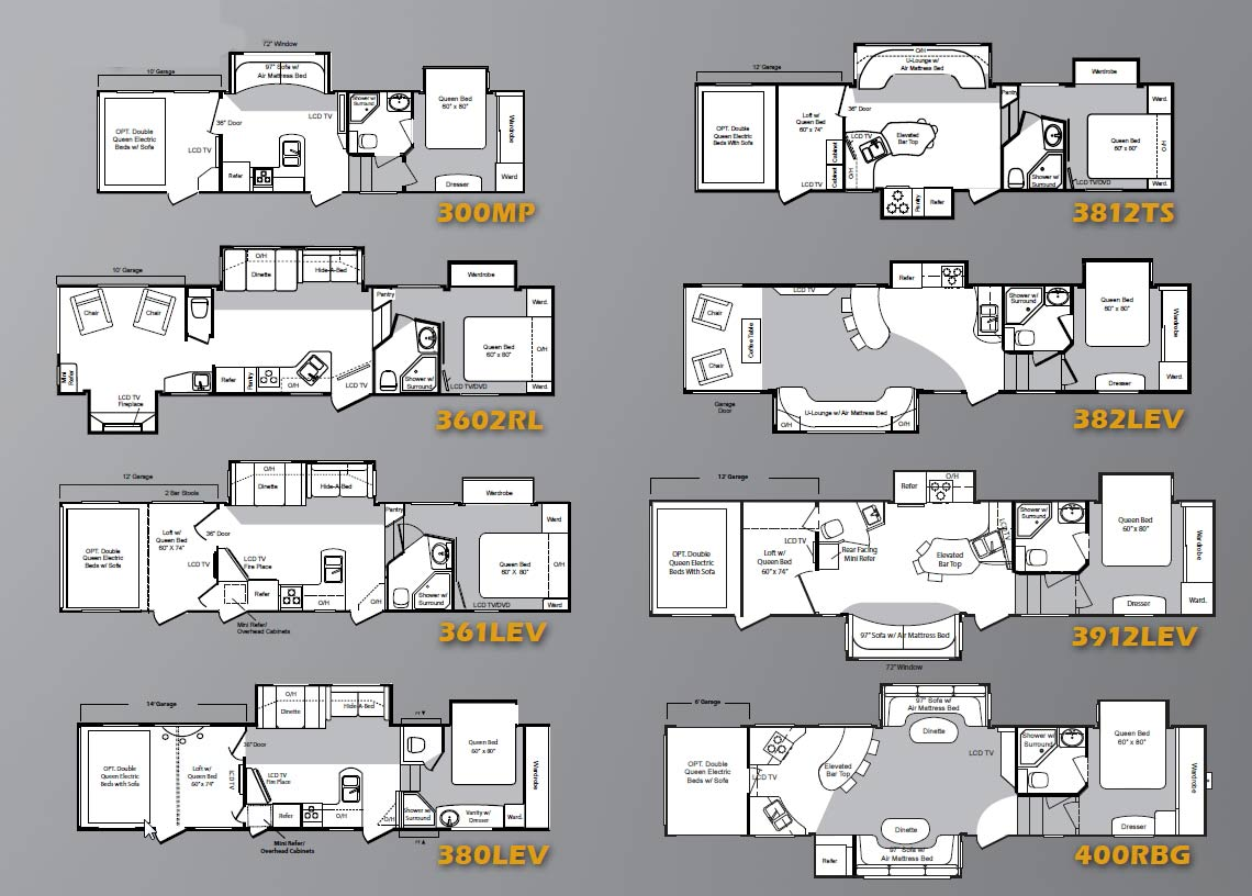 2010 Keystone Raptor fifth wheel toy hauler floorplans