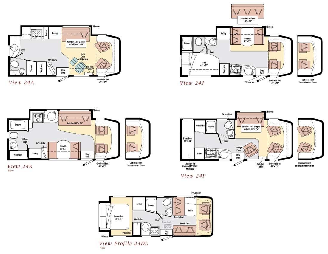Winnebago view class c motorhome floorplans for Floor plans com