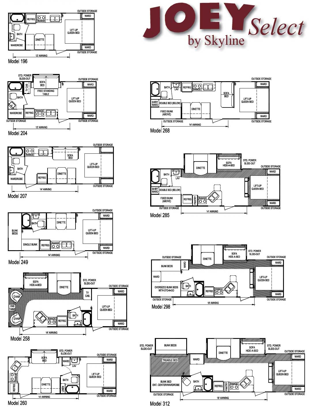 Skyline Joey travel trailer floorplans