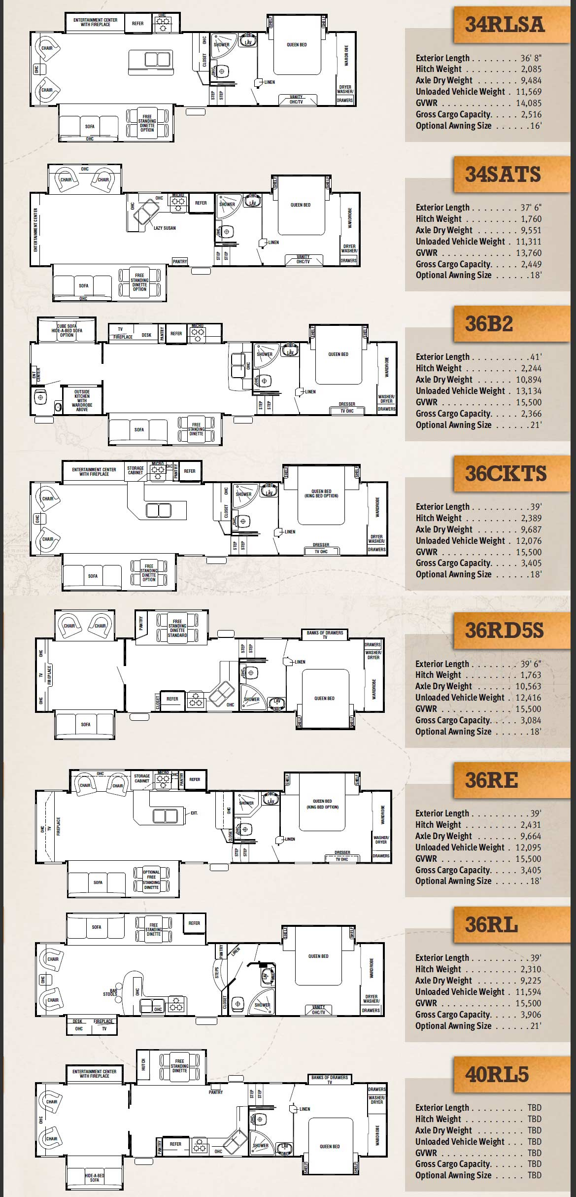 Forest River XLR toy hauler fifth wheel floorplans