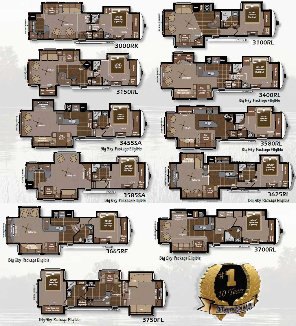 2011 Keystone Montana fifth wheel floorplans