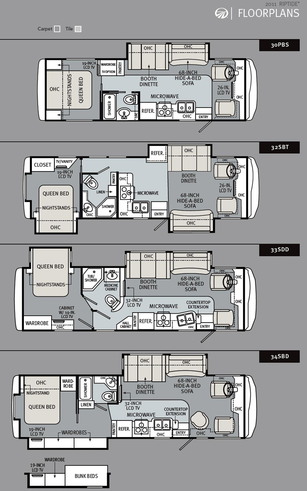 2011 monaco riptide class a motorhome floorplans large With monaco rv floor plans