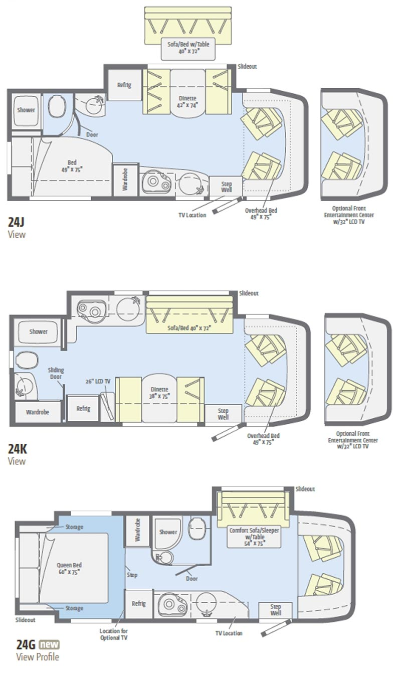 Winnebago View Class C Motorhome Floorplans - View floor plans