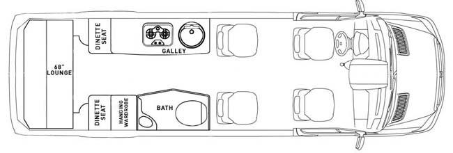 Схема салона Airstream 3500 Interstate. Фото: roamingtimes.com