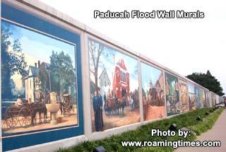 Paducah, KY, Flood Wall Murals   View Along Murals