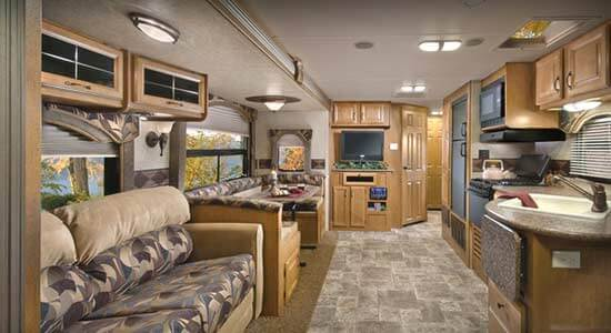 Travel trailers interior Tiny 2012 Model 35rlds Travel Trailer With Horizon Décor Looking Towards The Bedroom Interior Features Roaming Times 2012 Evergreen Everlite Travel Trailer