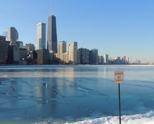 Lake Michigan by Chicago takes on another look in the winter