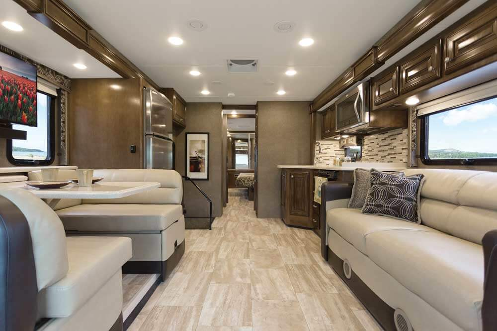 Palazzo Cafe Noir Pacific Cherry Front Back on motorhome luxury motor coach