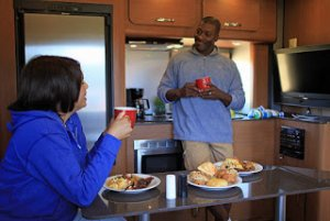 RV Rental Breakfast in RV Travel Trailer