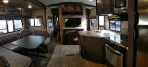 Surveyor 243RBS Forest River Interior Galley and Living Area