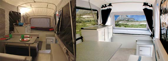 Quicksilver tent camper by Livin' Lite - interiors