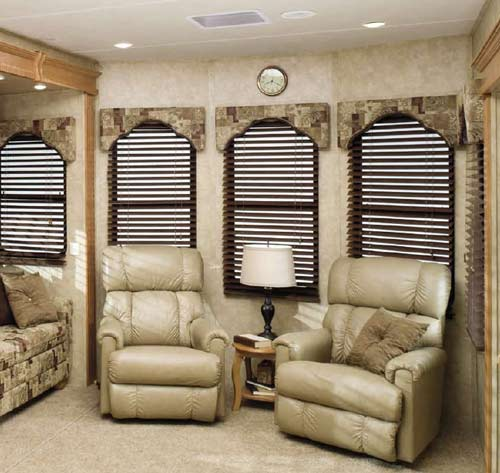 Cedar Creek Cottage destination trailer interior - seating area