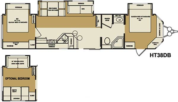 Crossroads Hampton destination trailer floorplan HT38DB
