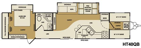 Crossroads Hampton destination trailer floorplan HT40QB
