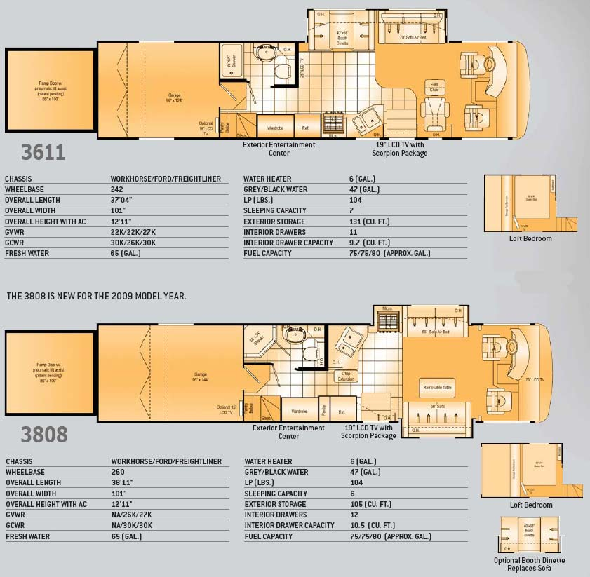Damon Outlaw Class A Toy Hauler Floorplans