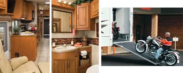 Damon Outlaw class A toy hauler kitchen, bathroom and rear ramp pictures