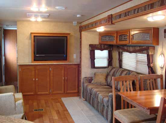 Forest River V-Cross travel trailer interior looking to rear
