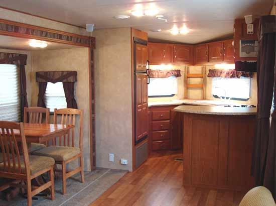 Forest River V-Cross travel trailer interior looking forward