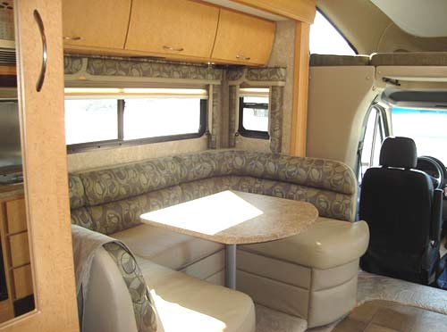 Four Winds Chateau Citation Sprinter class C motorhome interior showing dinette