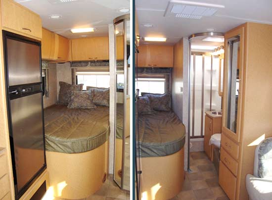 Four Winds Chateau Citation Sprinter class C motorhome interior showing bed and bathroom arrangement rear