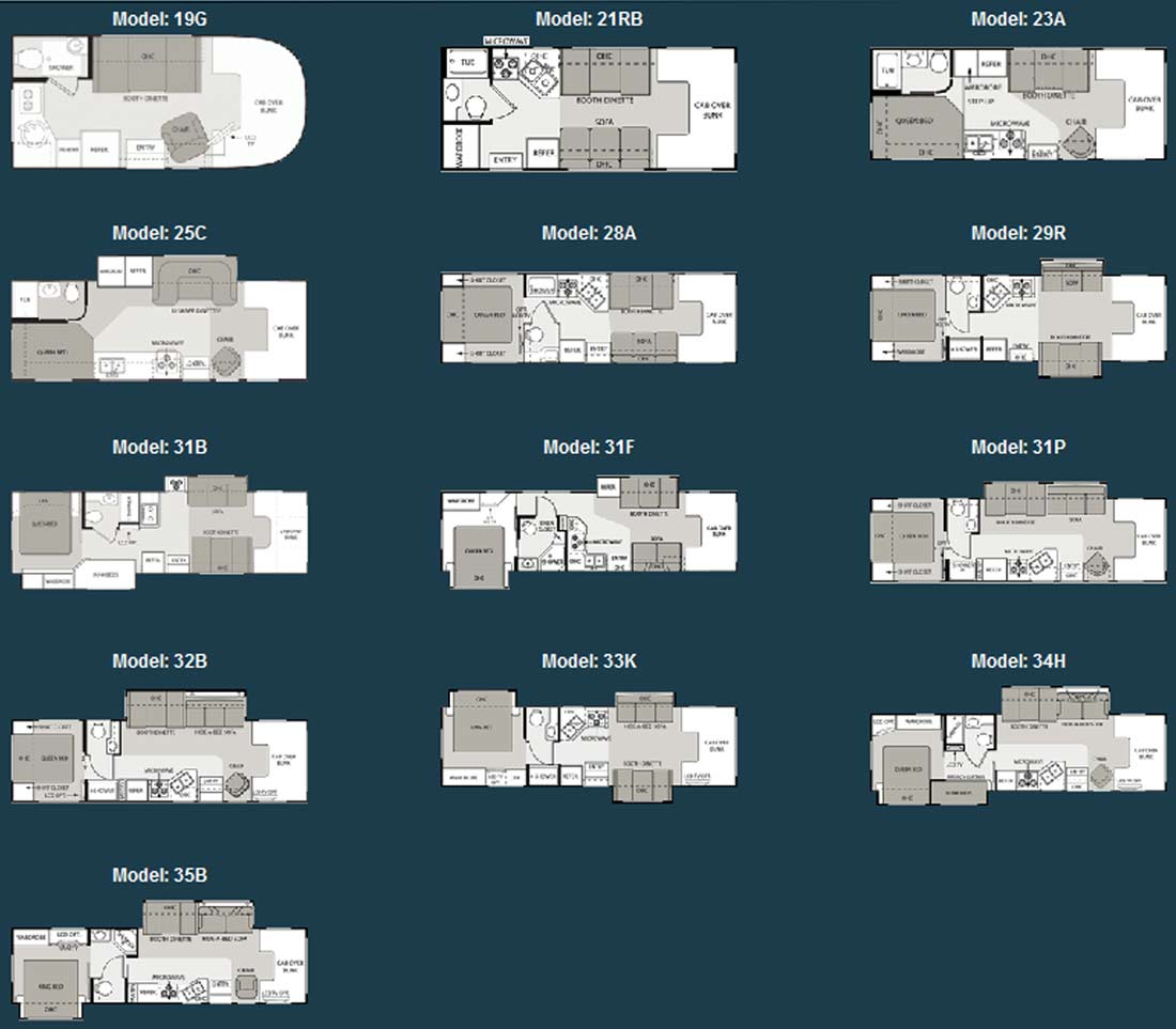 Four winds class c motorhome floorplans for Floor plans for motorhomes