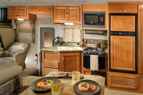 Four Winds class C motorhome interior - dining area and kitchen