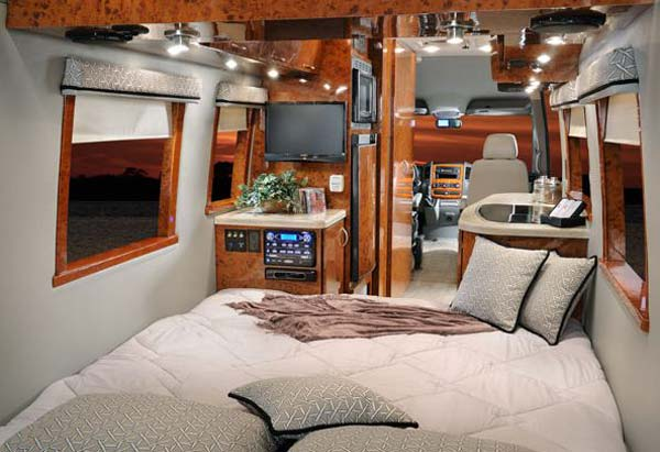 Four Winds Ventura class B motorhome interior with bedroom arrangement