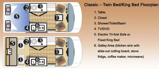 Great West Vans Classic class B motorhome floorplan - king bed