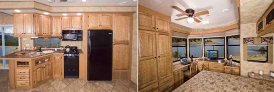 Heartland Cedar Ridge extended stay trailer interior - kitchen and bedroom
