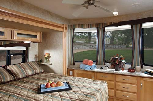 Jayco Jay Flight Bungalow destination trailer interior showing bedroom