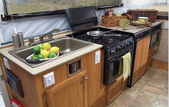 Jayco Select camping trailer interior - kitchen area