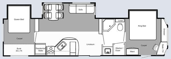 Keystone Residence destination trailer floorplan 402BH