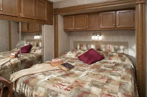Keystone Residence destination trailer interior showing bedroom