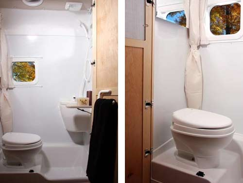 Leisure Travel Vans Free Spirit class B motorhome bathroom arrangement
