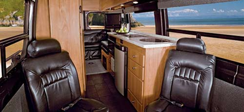 Winnebago ERA class B motorhome interior looking towards the rear