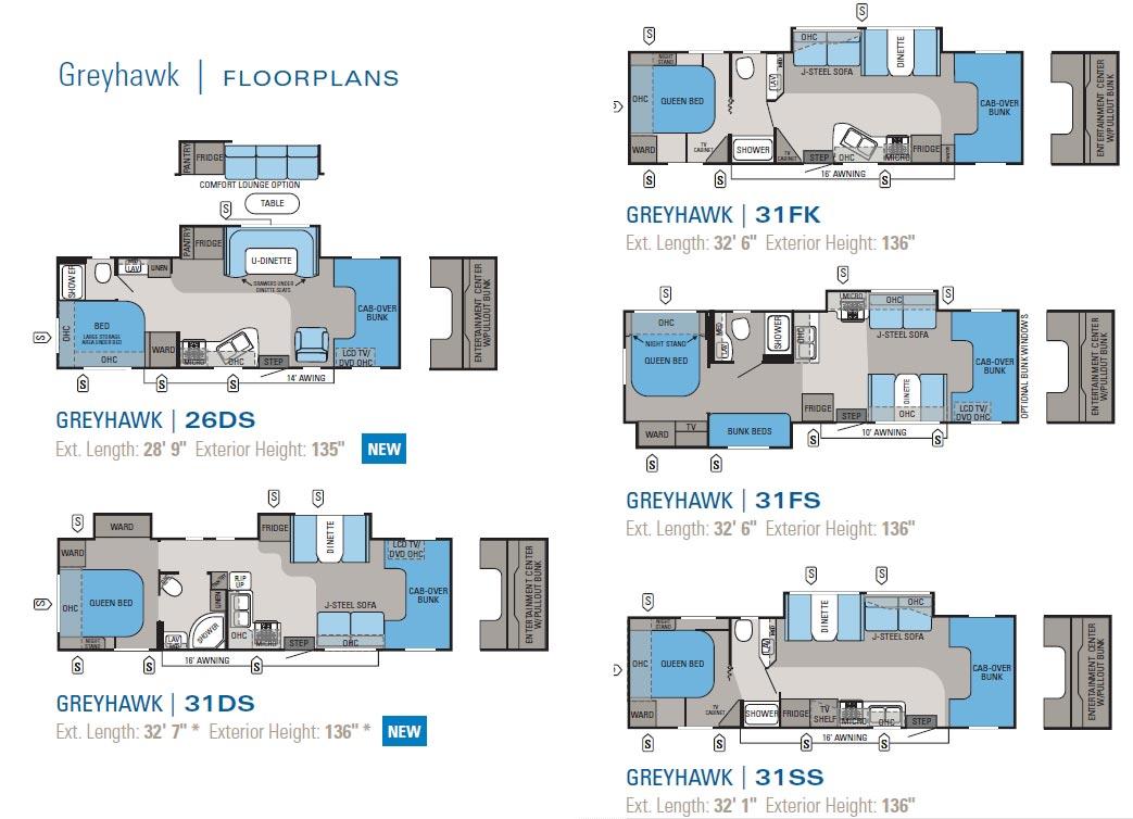 2011 Jayco Greyhawk class C motorhome floorplans