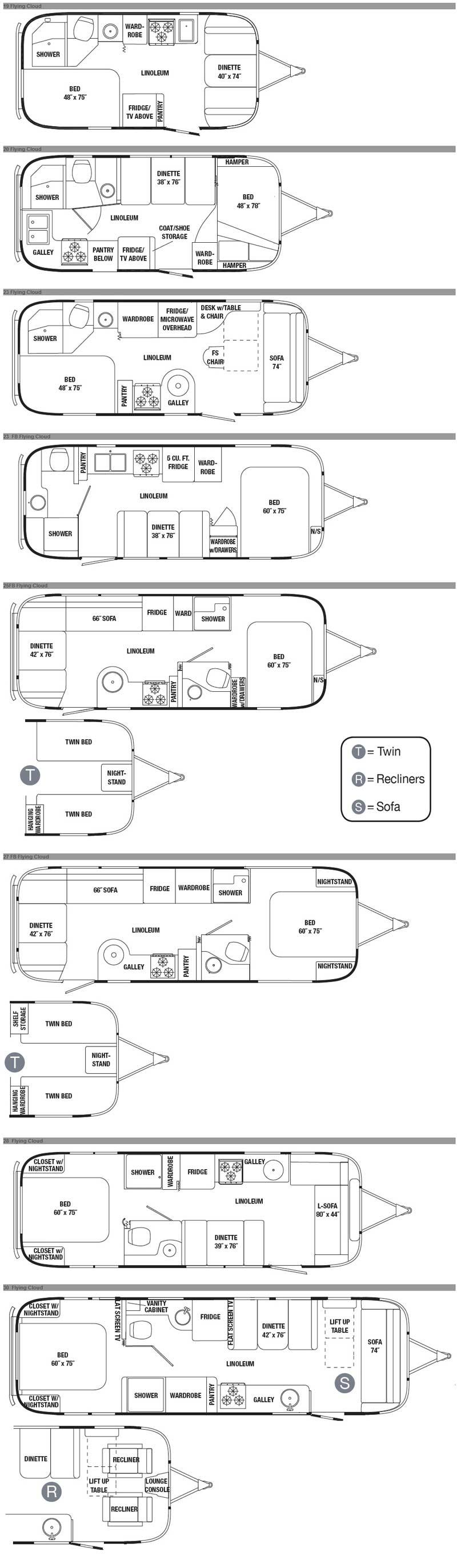 Airstream Flying Cloud Travel Trailer Floorplans 11