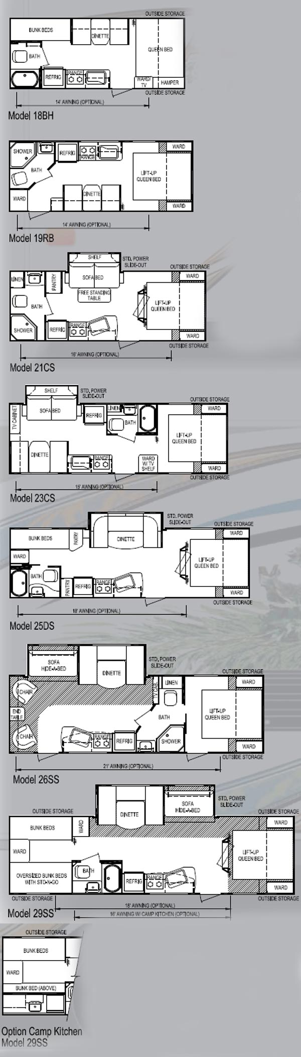 Skyline Koala travel trailer - 2012 floorplans