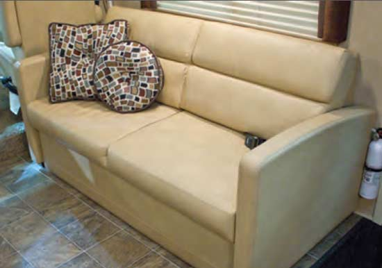 Thor ACE gas motorhome - interior - letherett sofa converts to bed