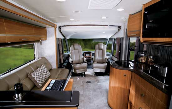 Winnebago Via class A motorhome - interior looking to front